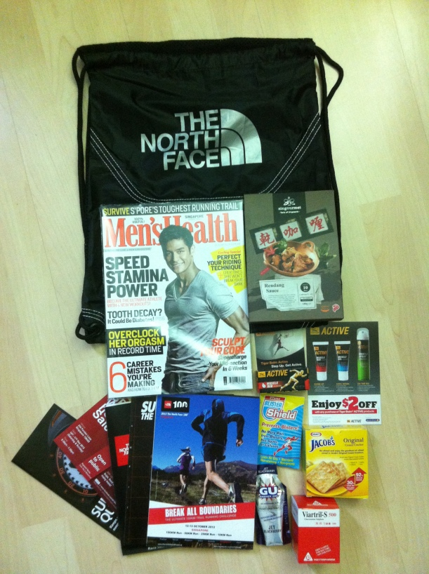 contents of TNF100 Singapore 2012 racepack
